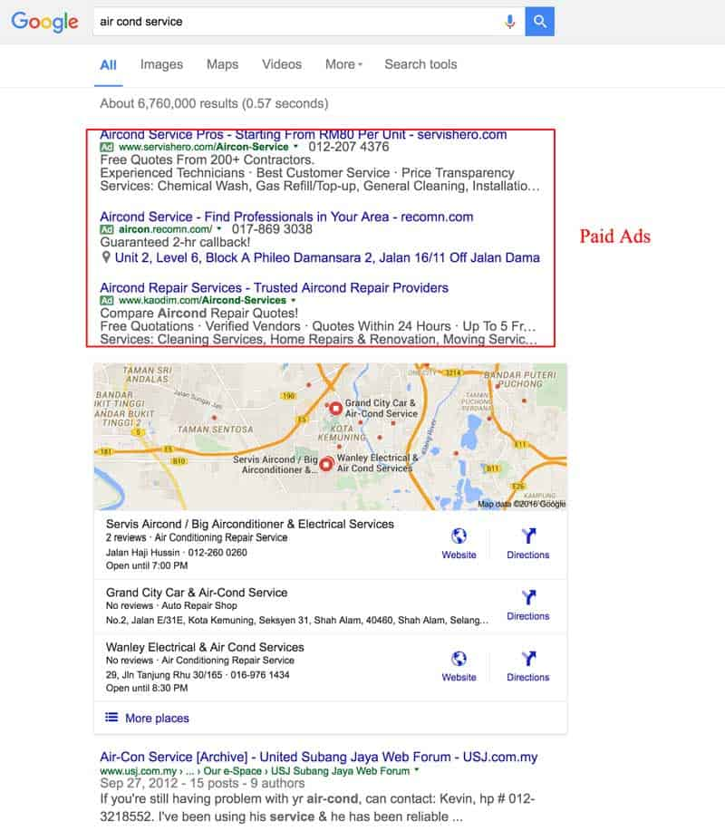 Paid Ads Result in Google